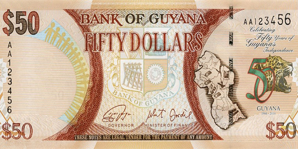 Guyana 2016 50 Years of Independence commemorative $50 banknote