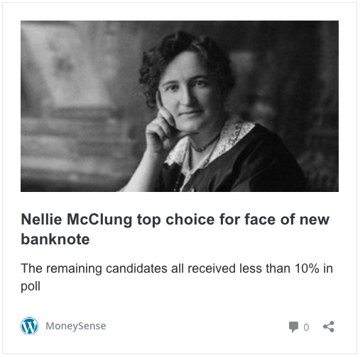 Nellie McClung, top candidate for Canada's next banknote