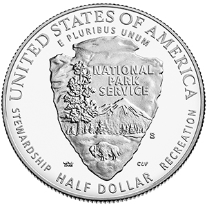 reverse, United States 2016 National Park Service Centennial Commemorative Half Dollar