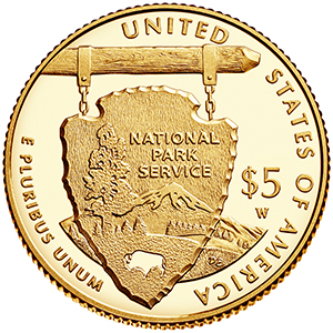 reverse, United States 2016 National Park Service Centennial Commemorative $5 gold coin
