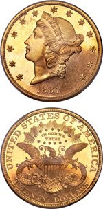 1884 $20 gold double eagle. Images courtesy Heritage Auctions