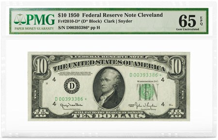 $10 1950 FRN Cleveland, Star Note, PMG Graded 65 Gem Uncirculated EPQ. Image courtesy PMG