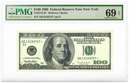 $100 1996 FRN New York, PMG Graded 69 Superb Gem Unc EPQ. Image courtesy PMG