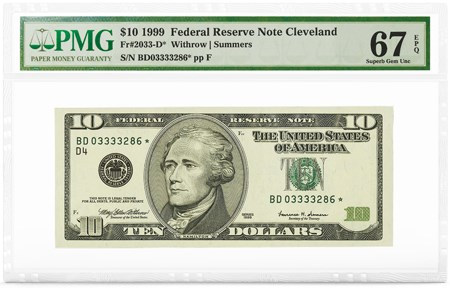 $10 1999 FRN Cleveland, Star Note, PMG Graded 67 Superb Gem Unc EPQ. Image courtesy PMG