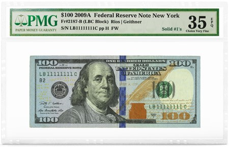 $100 2009A FRN New York, Solid #1's, PMG Graded 35 Choice Very Fine EPQ. Image courtesy PMG
