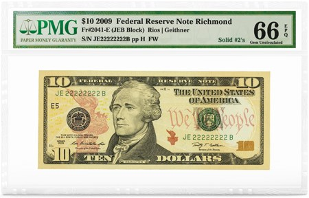 $10 2009 FRN Richmond, Solid #2's, PMG Graded 66 Gem Uncirculated EPQ. Image courtesy PMG