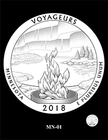 2018 Voyageurs National Park design. Image courtesy US Mint