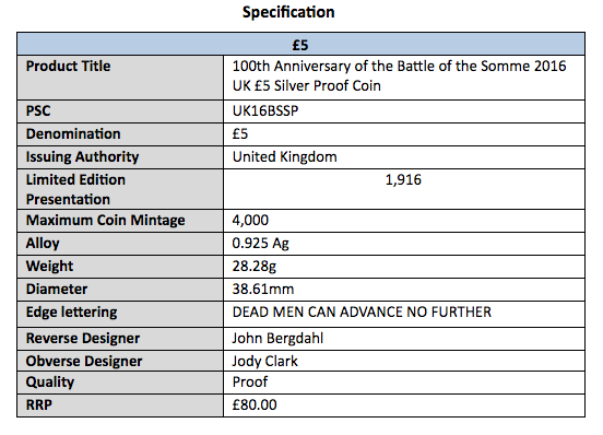 Battle of the Somme coin specification table, courtesy The Royal Mint