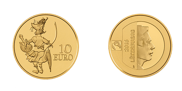 Luxembourg 2016 D'Mause Ketti 10 Euro Gold coin. Image courtesy BCL