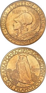 Round 1915 Panama Pacific $50 gold coins. Images courtesy Heritage Auctions