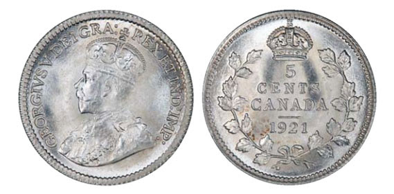 Canada 1921 George V 5 cent coin
