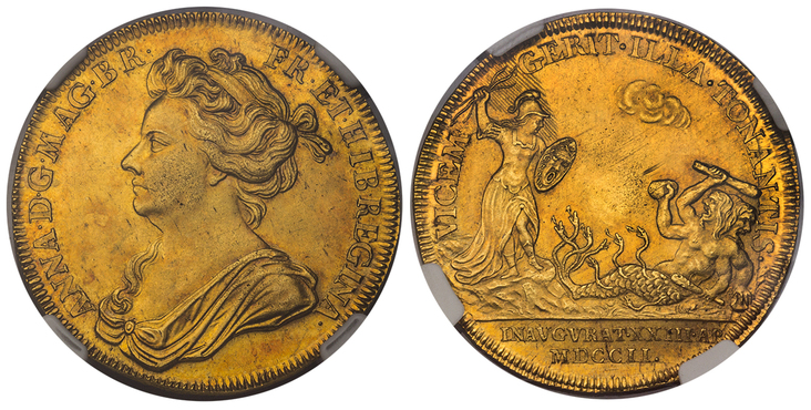 GREAT BRITAIN. Anne. (Queen, 1702-1714). 1702 AV Coronation Medal. Images courtesy Atlas Numismatics