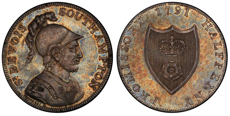 GREAT BRITAIN. Hampshire, Southampton. 1791 AR Halfpenny Token. Images courtesy Atlas Numismatics