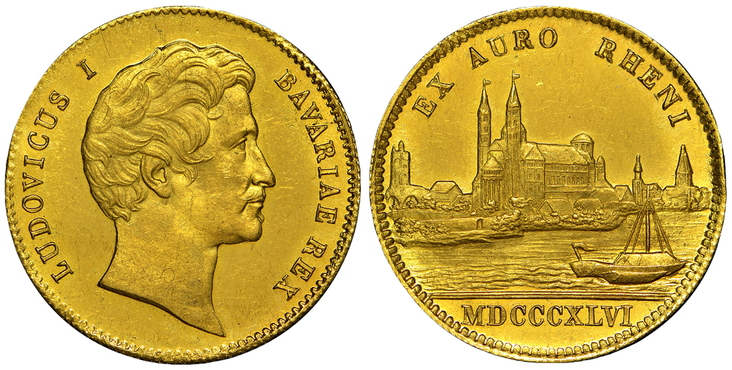 GERMAN STATES. Bavaria. Ludwig I. 1846 AV Ducat. Images courtesy Atlas Numismatics