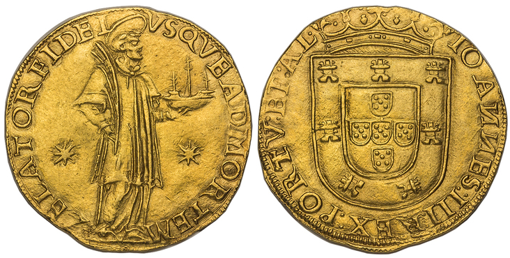PORTUGAL. Joao III. (King, 1521-1557). (1521-57) AV 1000 Reis. Images courtesy Atlas Numismatics