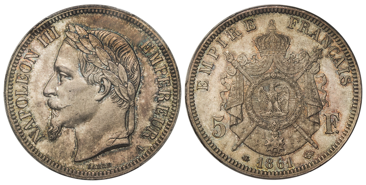FRANCE. Napoleon III. 1861-A AR 5 Francs. Images courtesy Atlas Numismatics