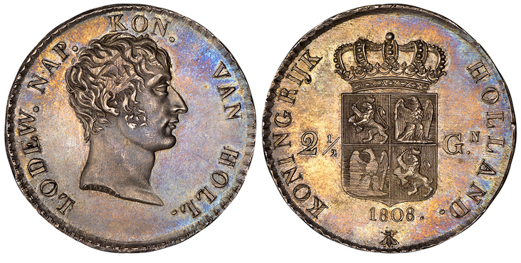 NETHERLANDS. 1808 AR 2-1/2 Gulden. Images courtesy Atlas Numismatics