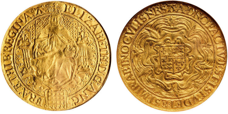 GREAT BRITAIN. England. Elizabeth I. (Queen, 1558-1603). (1582-84)-A (54) AV Sovereign (30 Shillings). Images courtesy Atlas Numismatics