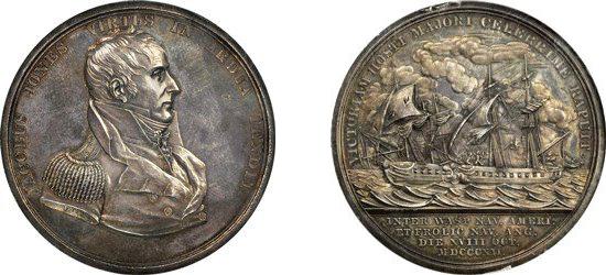 1812 Captain Jacob Jones / USS Wasp vs. HMS Frolic. Original. Silver. 64.5 mm. Julian NA-13. Images courtesy NGC