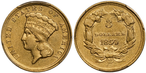 1854-D Three Dollar Gold