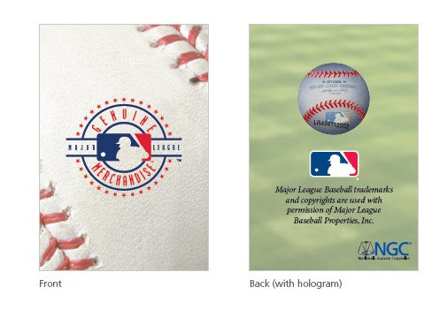 Front and back, MLB coin holder hologram. Images courtesy NGC