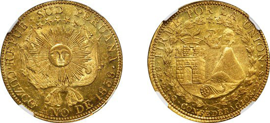 PERU. South Peru. 8 Escudos, 1838-MS. Cuzco Mint. Images courtesy NGC