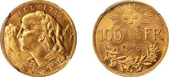 SWITZERLAND. 100 Franc, 1925-B. Images courtesy NGC