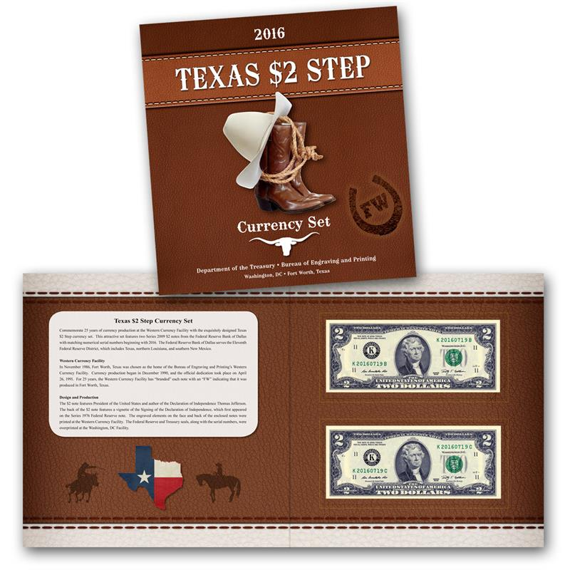 2016 Texas Two-Step $2 Currency Set. Images courtesy BEP.