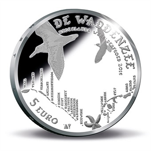 Netherlands 2016 Dutch World Heritage: Wadden Sea 5 Euro Silver Coin. Images courtesy Royal Dutch Mint