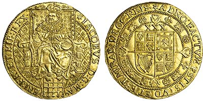 James I Gold Rosa-Ryal. Images courtesy Spink