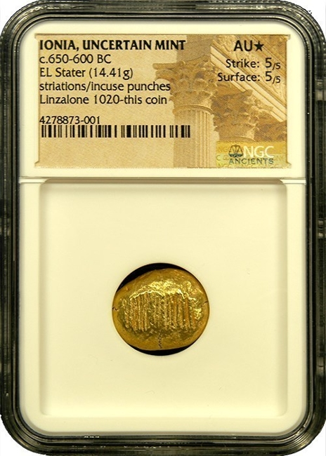 An Ionian Striated Stater, one of the first coins ever made. Image courtesy Austin Rare Coins