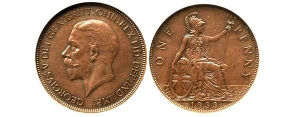 One of seven-known Great Britain 1933 George V one cent pieces. Images courtesy Heritage Auctions