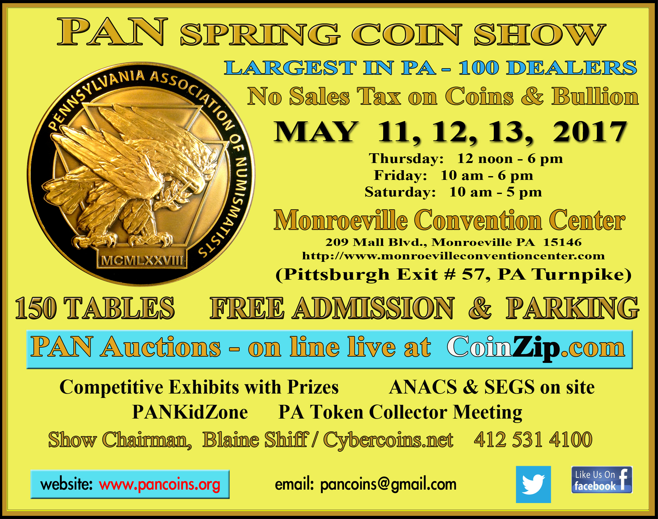 2017 PAN Spring Coin Show ad card