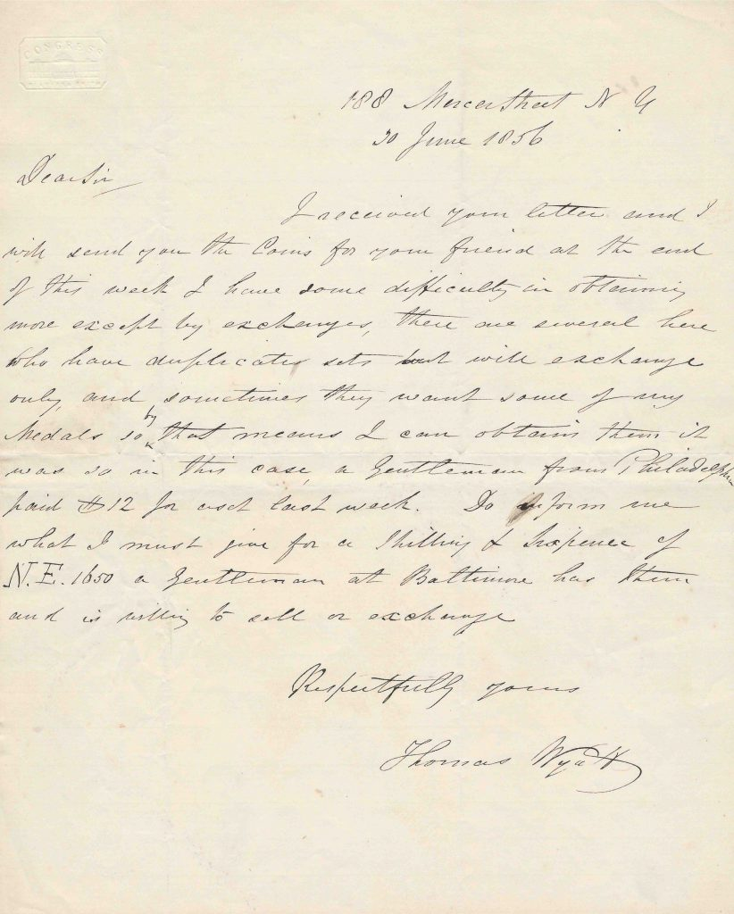Letter of noted Colonial coin counterfeit Thomas Wyatt, 1856. Image courtesy Kolbe & Fanning Numismatic Booksellers
