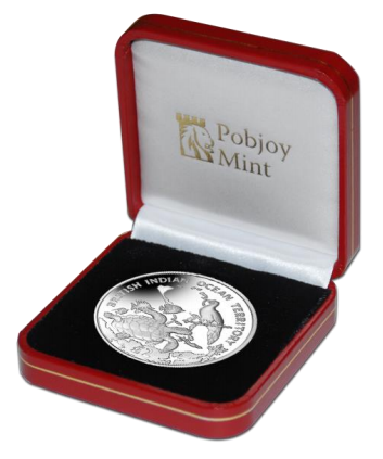 British Indian Ocean Territory 2016 Archipelago with Wildlife £2 Silver Coin presentation box. Image courtesy Pobjoy Mint