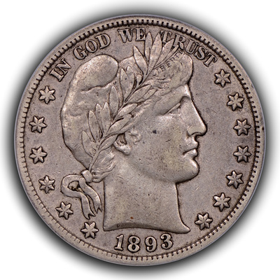 obverse, 1893-S Barber half dollar in EF. Image courtesy Thomas Bush Numismatics
