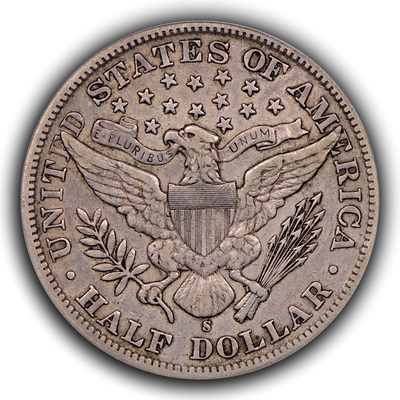 reverse, 1893-S Barber half dollar in EF. Image courtesy Thomas Bush Numismatics