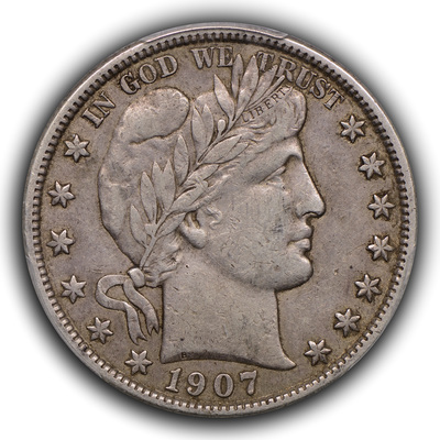 obverse, 1907-S Barber half dollar in EF with original skin, darker color and retained dirt. Image courtesy Thomas Bush Numismatics