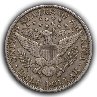 reverse, 1907-S Barber half dollar in EF with original skin, darker color and retained dirt. Image courtesy Thomas Bush Numismatics