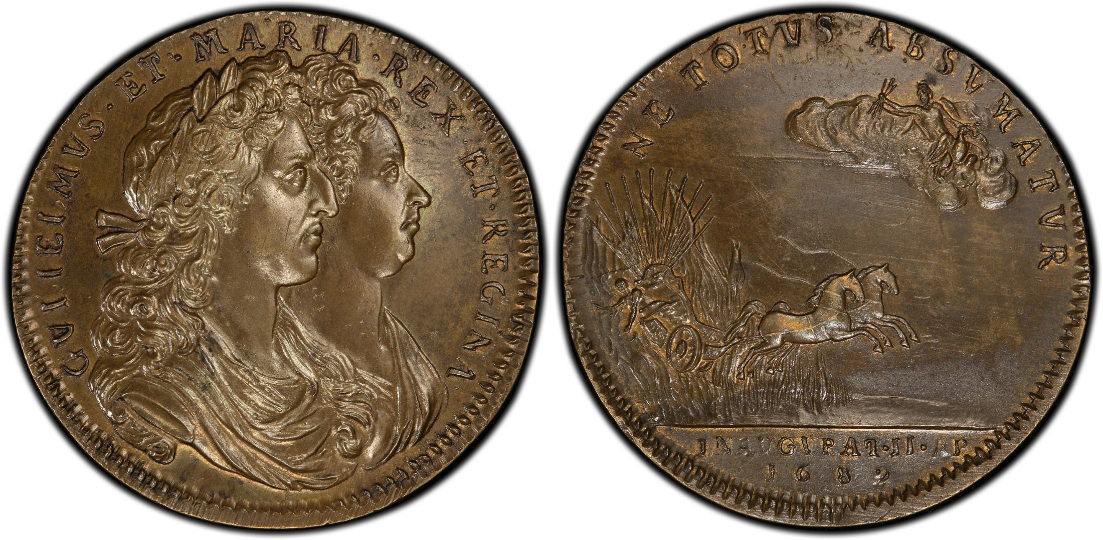 GREAT BRITAIN. England. William and Mary. 1689 Brass Coronation Medal. Images courtesy Atlas Numismatics