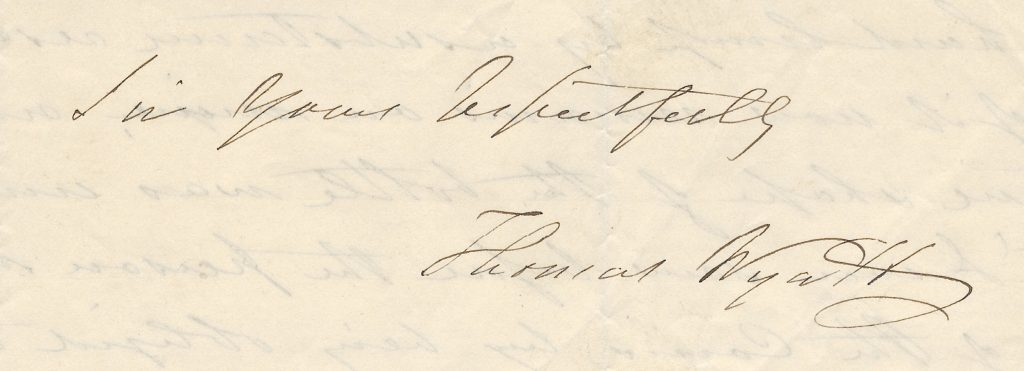 Signature of noted Colonial coin counterfeit Thomas Wyatt, 1856. Image courtesy Kolbe & Fanning Numismatic Booksellers