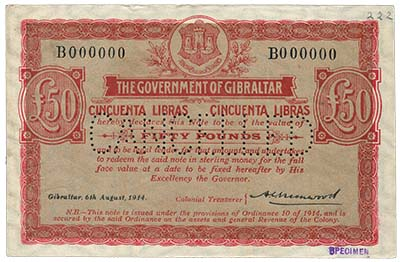 Gibraltar £50 of 1914 (lot 709). Image courtesy Spink Auctions