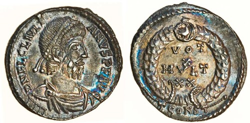 siliqua of Roman emperor Julian II (360 - 363 CE). Images courtesy Spink Auctions