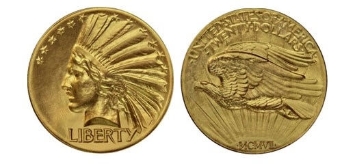 1907 Indian Head Double Eagle Pattern