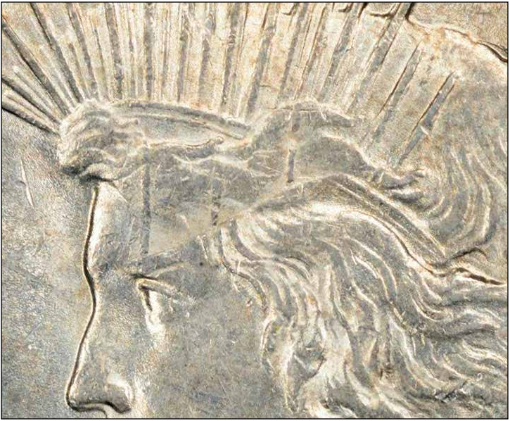 1922 Peace Dollar flip-over double strike, obverse close-up. Image courtesy Mike Byers, Mint Error News