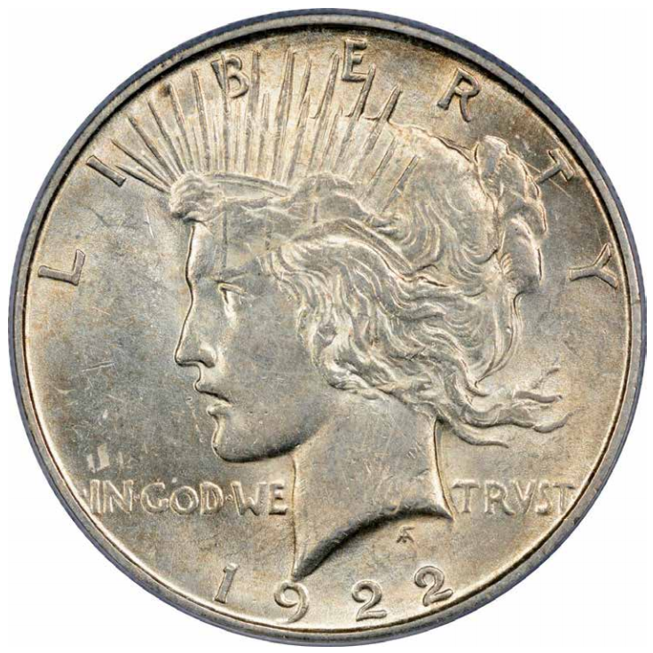 1922 Peace Dollar flip-over double strike, obverse. Image courtesy Mike Byers, Mint Error News