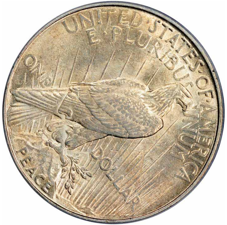 1922 Peace Dollar flip-over double strike, reverse. Image courtesy Mike Byers, Mint Error News