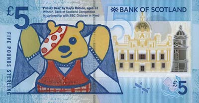 2015 Pudsey issue, Bank of Scotland Polymer £5. Image courtesy Spink Auctions