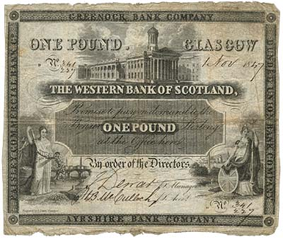 Western Bank of Scotland £1 of 1847. Image courtesy Spink Auctions
