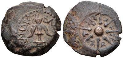 anchor/star prutah of Alexander Jannaeus. Images courtesy CNG, NGC